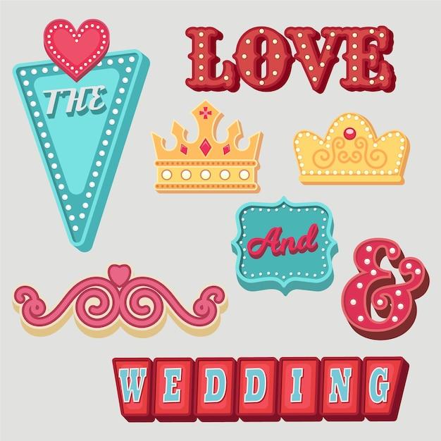 Conjunto de elementos de boda diferentes encantadores vector gratuito