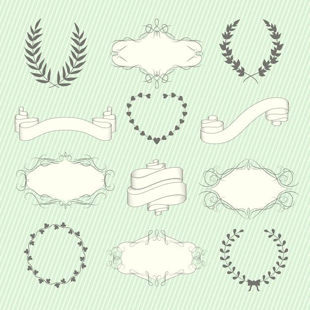 Conjunto de elementos de la boda vector gratuito