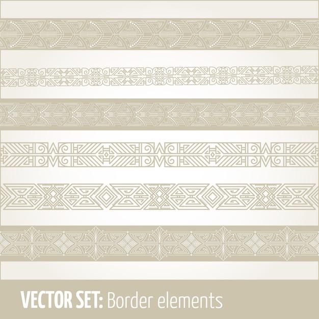 Conjunto de elementos de borde y elementos de decoración de página. vector gratuito