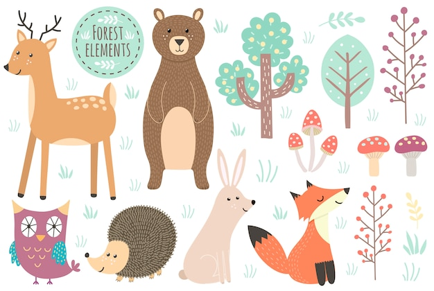 Conjunto de elementos del bosque lindo - animales y árboles. Vector Premium