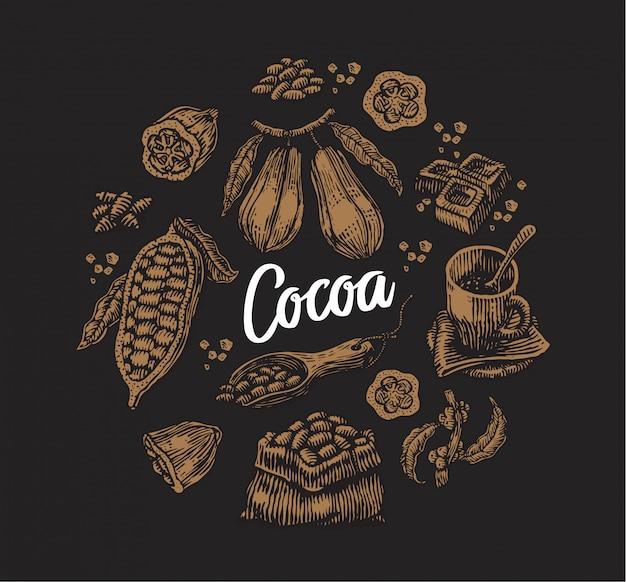 Conjunto de elementos de cacao vector gratuito