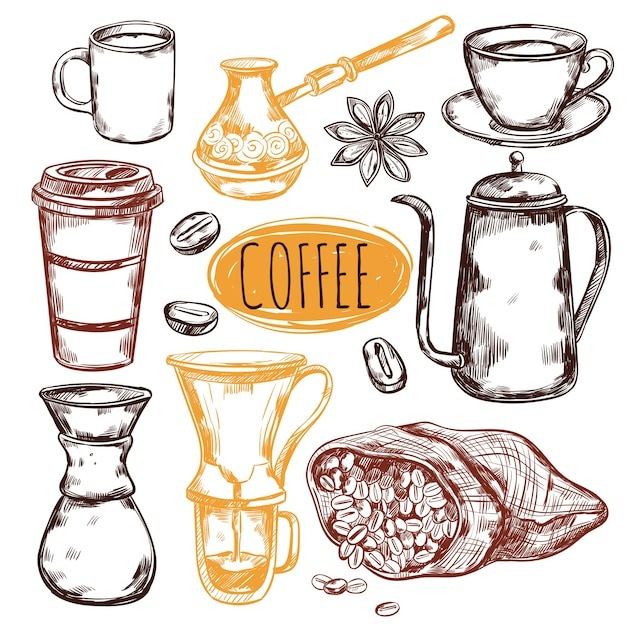 Conjunto de elementos de café de bosquejo vector gratuito