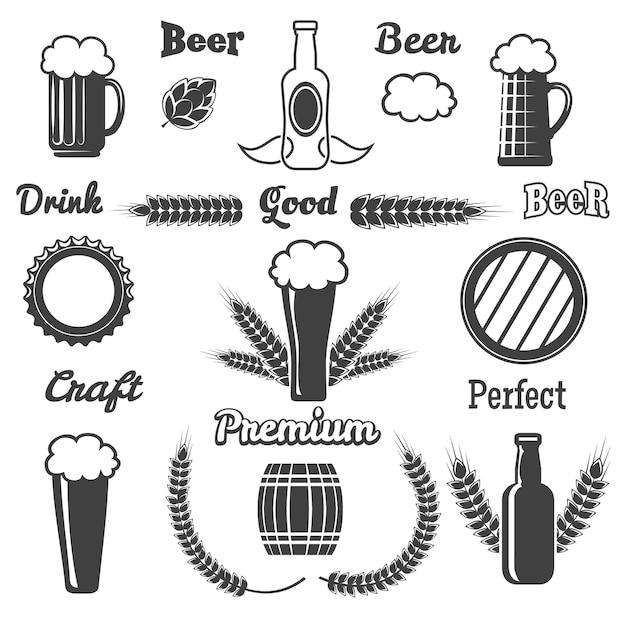 Conjunto de elementos de cerveza artesanal vintage vector gratuito