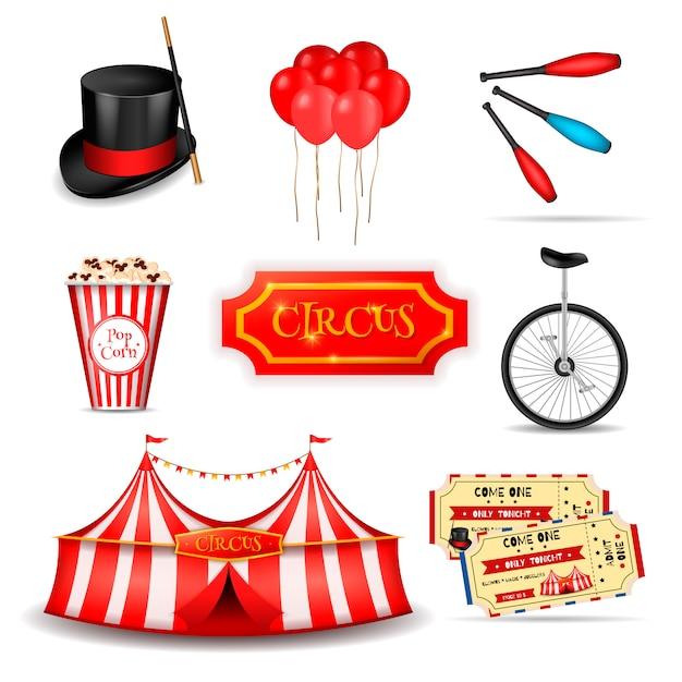 Conjunto de elementos de circo itinerante vector gratuito