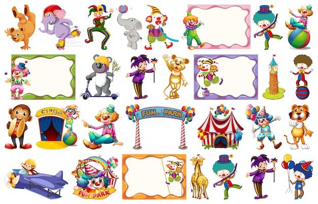 Conjunto de elementos de circo. vector gratuito