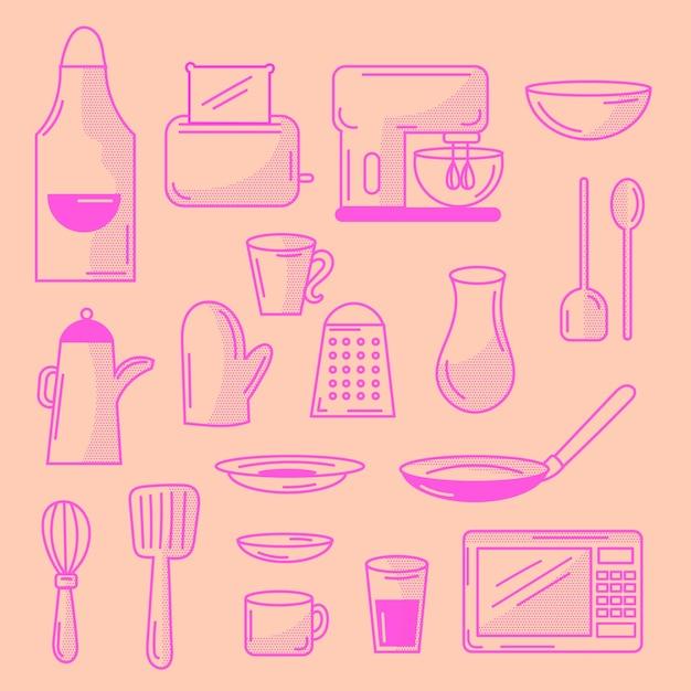 Conjunto de elementos de cocina doodled vector gratuito