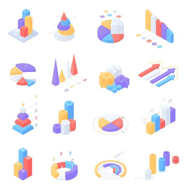 Conjunto de elementos coloridos infografía isométrica Vector Premium