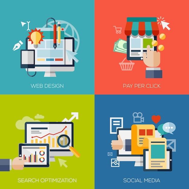 Conjunto de elementos de concepto de diseño plano para aplicaciones y servicios web y móviles. Vector Premium