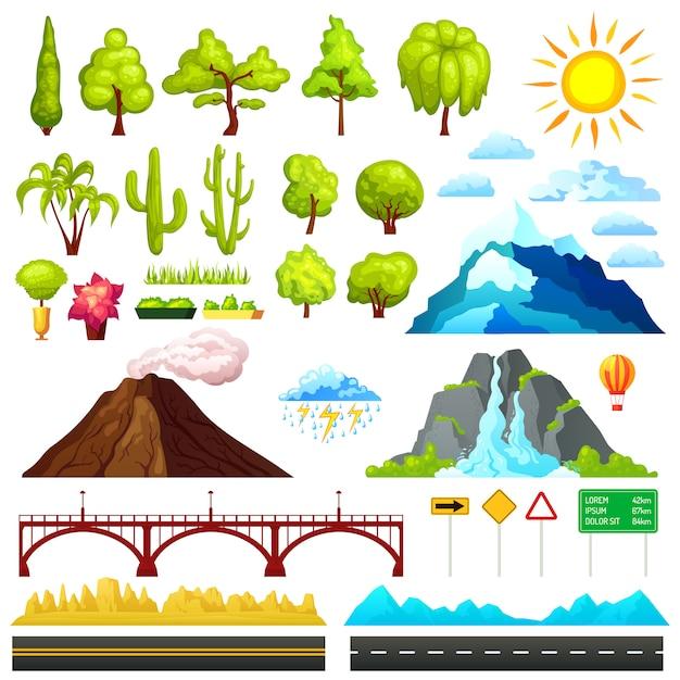 Conjunto de elementos de constructor de paisaje vector gratuito