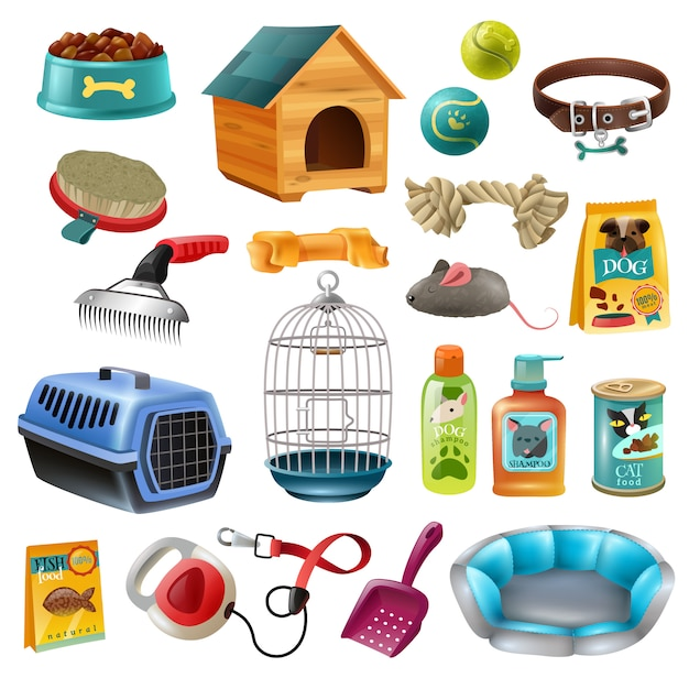 Conjunto de elementos de cuidado de mascotas vector gratuito