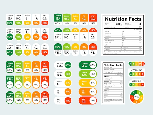 Conjunto de elementos y datos nutricionales. Vector Premium