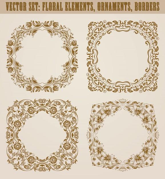 Conjunto de elementos decorativos dibujados a mano, borde, marco con elementos florales para el diseño. decoración de página en estilo vintage Vector Premium