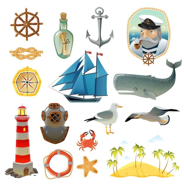 Conjunto de elementos decorativos náuticos del mar. vector gratuito