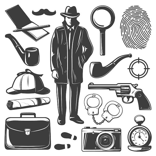 Conjunto de elementos detective vintage vector gratuito