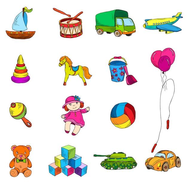 Conjunto de elementos de dibujo de juguetes. vector gratuito
