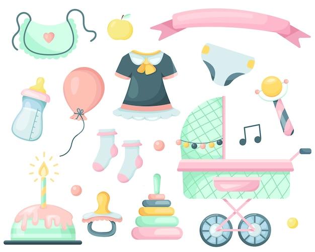 Conjunto De Elementos De Dibujos Animados Para Un Bebé Recién Nacido Vector Premium