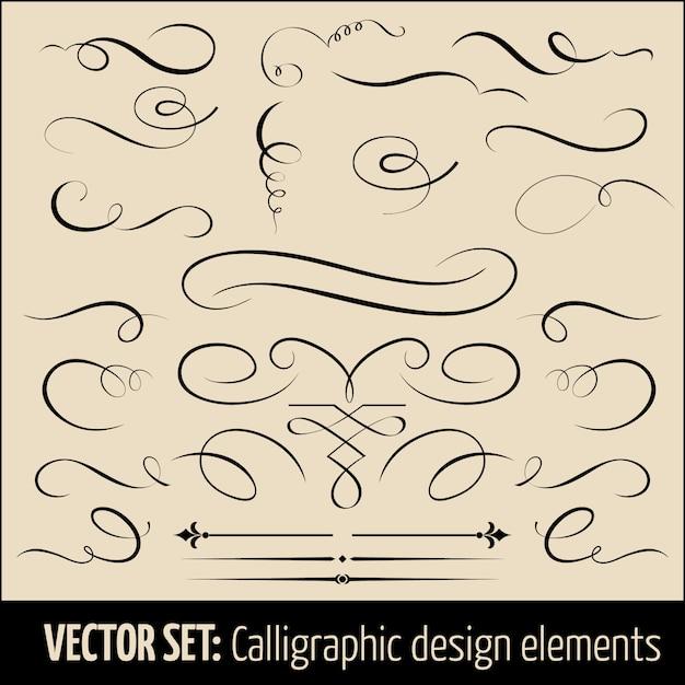 Conjunto de elementos de diseño caligráficos y decoración de páginas. vector gratuito