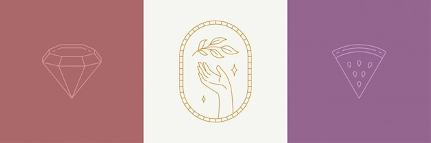 Conjunto de elementos de diseño de decoración de arte de línea de vector - hojas y gestos ilustraciones de mano estilo lineal simple Vector Premium