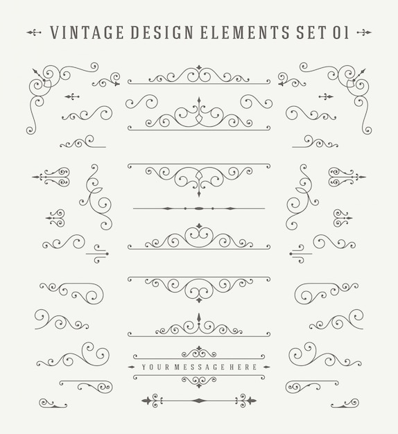 Conjunto de elementos del diseño de las decoraciones de los ornamentos de la vendimia. Vector Premium