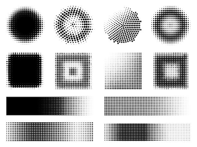 Conjunto de elementos de diseño de efectos de semitono monocromo vector gratuito