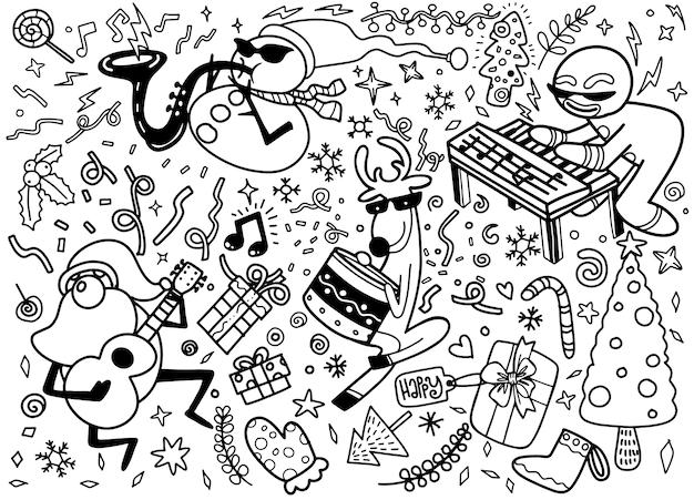 Conjunto de elementos de diseño de navidad en estilo doodle Vector Premium