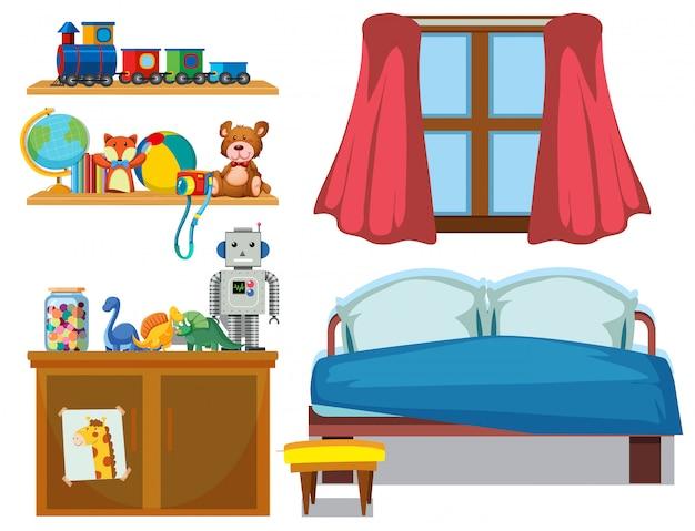 Conjunto de elementos de dormitorio vector gratuito