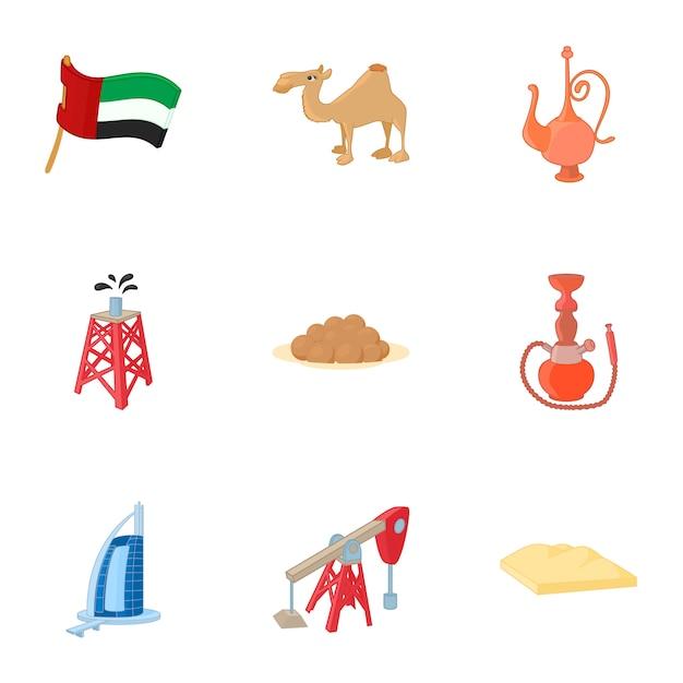 Conjunto de elementos de emiratos árabes unidos, estilo de dibujos animados Vector Premium
