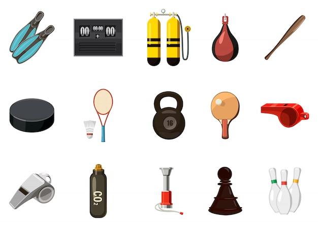 Conjunto de elementos de equipamiento deportivo. conjunto de dibujos animados de equipamiento deportivo Vector Premium