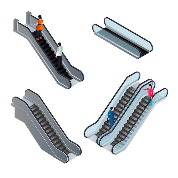 Conjunto de elementos de escaleras mecánicas, estilo isométrico Vector Premium
