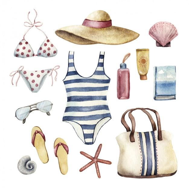 Conjunto de elementos esenciales de vacaciones en la playa, ilustración acuarela Vector Premium