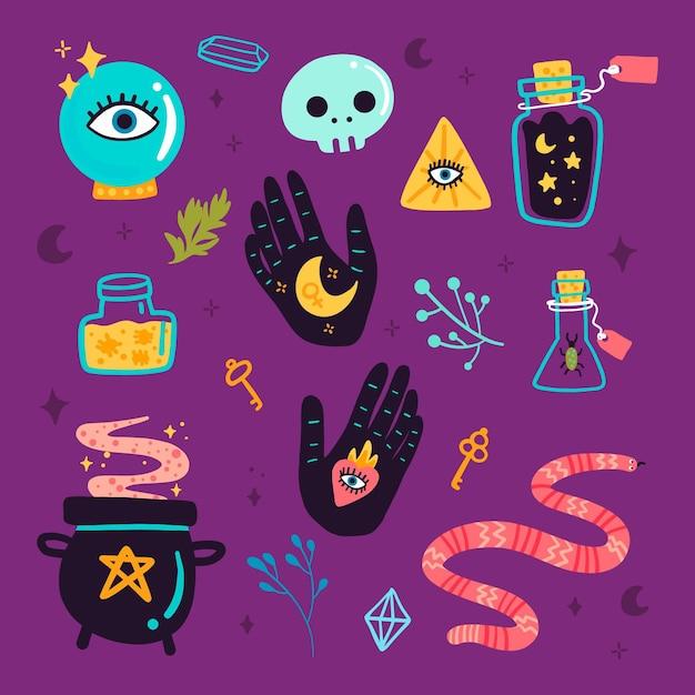 Conjunto de elementos esotéricos vector gratuito
