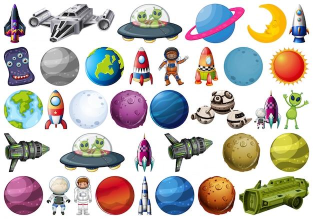 Conjunto de elementos espaciales vector gratuito