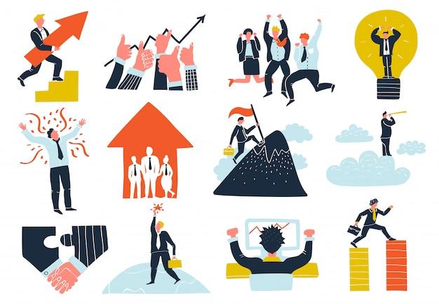 Conjunto de elementos de éxito empresarial vector gratuito