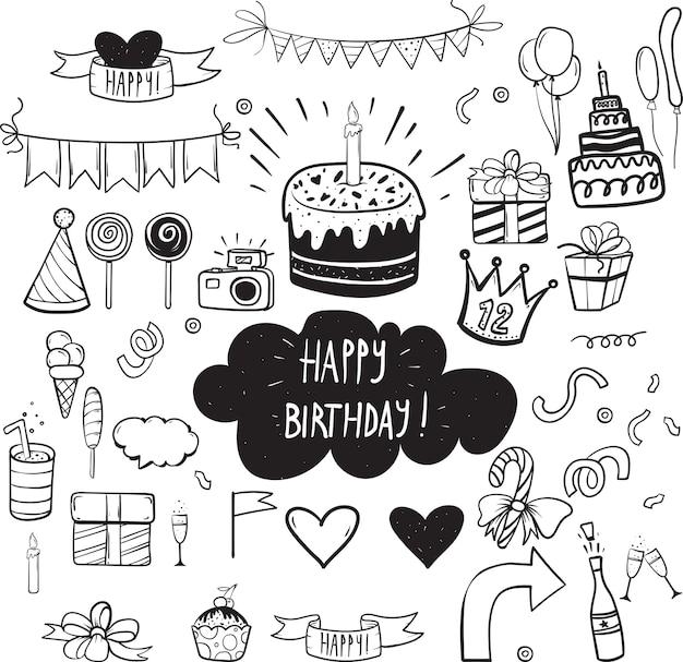 Conjunto de elementos de fiesta de cumpleaños de vector Vector Premium
