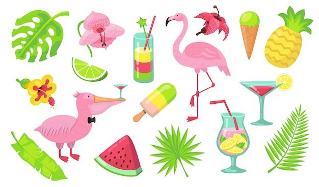 Conjunto de elementos de fiesta de playa de verano vector gratuito