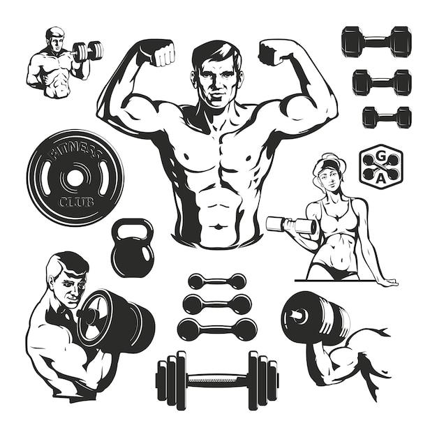 Conjunto de elementos de fitness de gimnasio vector gratuito