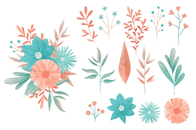 Conjunto de elementos florales coloridos acuarela vector gratuito
