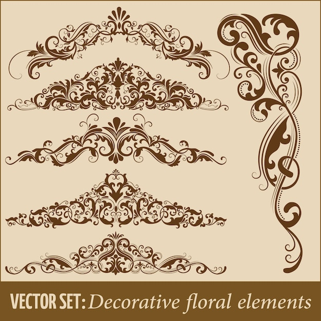 Conjunto de elementos florales decorativos dibujados a mano para el diseño. elemento de la decoración de la página. vector gratuito