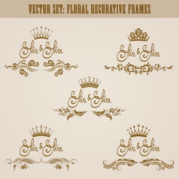 Conjunto de elementos florales dibujados a mano de oro. Vector Premium