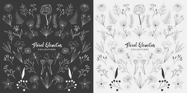 Conjunto de elementos florales dibujados a mano Vector Premium