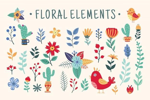 Conjunto de elementos florales hermosos Vector Premium