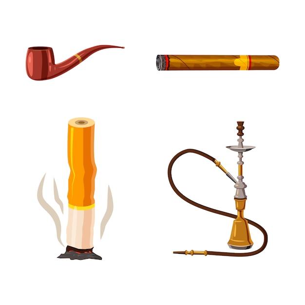 Conjunto de elementos de fumar. conjunto de dibujos animados de fumar Vector Premium