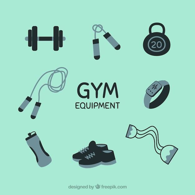 Conjunto de elementos de gimnasio con herramientas de ejercicios vector gratuito