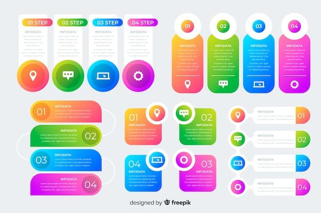 Conjunto de elementos de gradiente de infografía vector gratuito