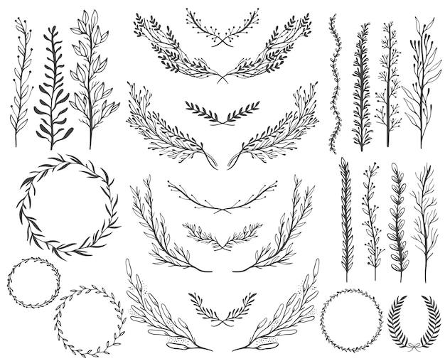 Conjunto de elementos gráficos florales de boda, diseño de invitación. Vector Premium