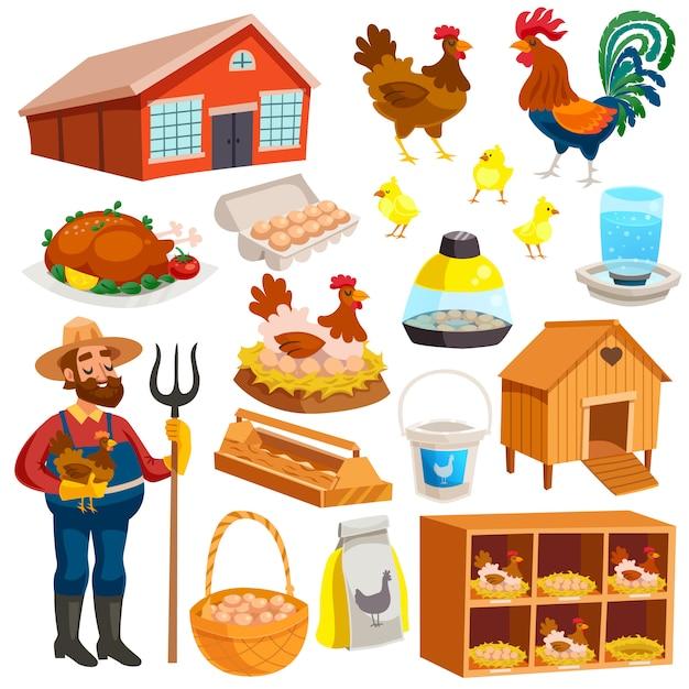Conjunto de elementos de granja avícola vector gratuito