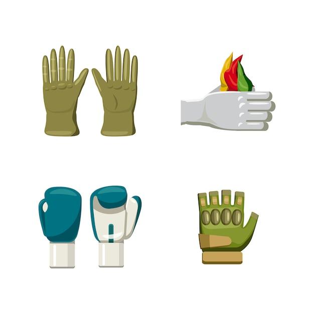 Conjunto de elementos de guantes. conjunto de dibujos animados de guantes Vector Premium