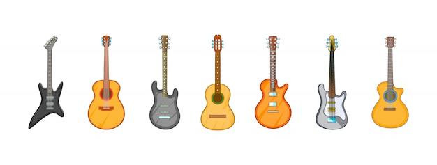 Conjunto de elementos de guitarra. conjunto de dibujos animados de elementos de vector de guitarra Vector Premium
