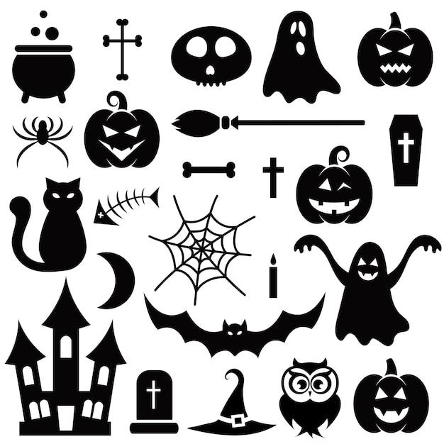 Conjunto de elementos de halloween Vector Premium
