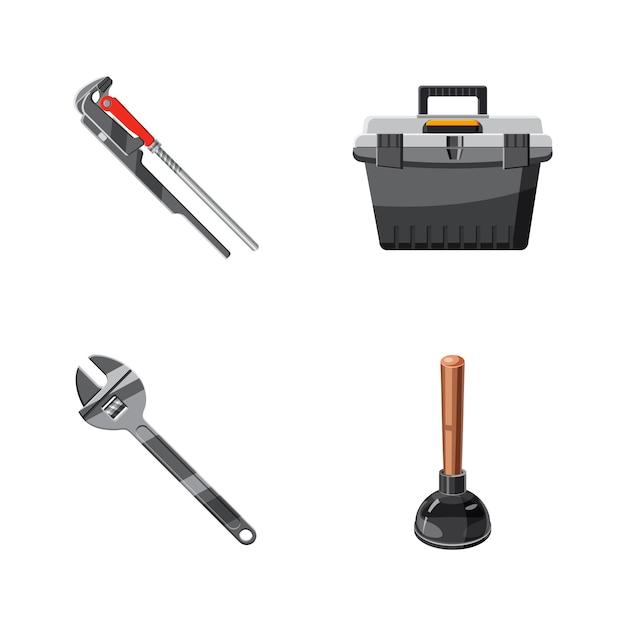 Conjunto de elementos de herramientas de baño. conjunto de dibujos animados de herramienta de baño Vector Premium